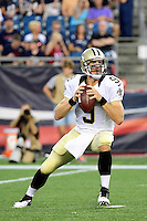 Thursday August 11, 2016: New Orleans Saints quarterback Drew Brees (9) throws a pass during an NFL pre-season game between the New Orleans Saints and the New England Patriots held at Gillette Stadium in Foxborough Massachusetts. The Patriots defeat the Saints 34-22 in regulation time. Eric Canha/CSM