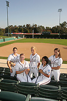 1 November 2007: Michelle Smith, Becky McCullough, Erin Howe, Amanda Beardman and Tricia Aggabao on picture day at Boyd and Jill Smith Family Stadium in Stanford, CA.