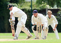 J Evans plays defensively for GPR - Upminster CC vs Gidea Park & Romford CC - Essex Cricket League at Upminster Park - 27/06/09- MANDATORY CREDIT: Gavin Ellis/TGSPHOTO - Self billing applies where appropriate - 0845 094 6026 - contact@tgsphoto.co.uk - NO UNPAID USE.