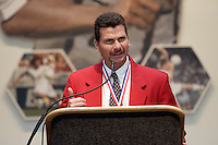 2004 National Soccer Hall of Fame inductee Michael Windischmann gives his acceptance speech on Monday October 11, 2004 at the National Soccer Hall of Fame and Museum, Oneonta, NY.