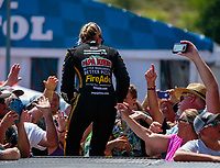 Jun 17, 2018; Bristol, TN, USA; NHRA top fuel driver Leah Pritchett during the Thunder Valley Nationals at Bristol Dragway. Mandatory Credit: Mark J. Rebilas-USA TODAY Sports