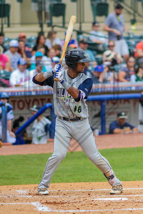 Columbia Fireflies second baseman Luis Carpio (18) during a South Atlantic League game against the Lexington Legends on May 28, 2017 at Whitaker Bank Ballpark in Lexington, Kentucky.  Columbia defeated Lexington 3-0. (Brad Krause/Krause Sports Photography)
