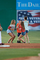 Batavia Muckdogs on field dance promotion in between innings during a NY-Penn League game against the State College Spikes on July 3, 2019 at Dwyer Stadium in Batavia, New York.  State College defeated Batavia 6-4.  (Mike Janes/Four Seam Images)