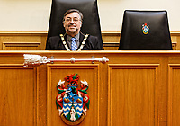 Pictured: Mayor Jeff Edmunds outside the Mayor's Parlour. Wednesday 09 March 2018<br /> Re: The effect that the Scarlets RFC has had in the town of Llanelli in Carmarthenshire and the west Wales region.