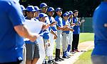 WATERBURY CT. - 01 August 2020-080120SV05-Teams line up during opening ceremonies of the Waterbury Police Activity League (PAL) end of season Summer Baseball Tournament at Municipal Stadium in Waterbury Saturday.<br /> Steven Valenti Republican-American