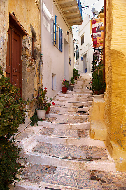 Narrow streets & houses of Ano Syros,  Syros Island [ ????? ] , Greek Cyclades Islands