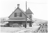 Ridgway depot, shared with D&amp;RGW, with vintage autos parked beside depot.<br /> RGS  Ridgway, CO  Taken by Hilner, Ray C. - 8/19/1951