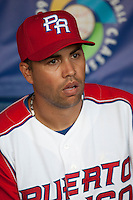 9 March 2009: #15 Carlos Beltran is seen in the dugout  prior to the 2009 World Baseball Classic Pool D game 4 at Hiram Bithorn Stadium in San Juan, Puerto Rico. Puerto Rico wins 3-1 over Netherlands