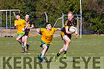 Seamus Scanlon Currow looks to set up an attack with Con Buckley Gneeveguilla in pursuit during their KCL D3 clash in Currow on Sunday