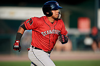 Erie SeaWolves third baseman Isaac Paredes (18) runs to first base during a game against the Harrisburg Senators on August 29, 2018 at FNB Field in Harrisburg, Pennsylvania.  Harrisburg defeated Erie 5-4.  (Mike Janes/Four Seam Images)