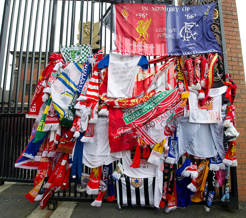 Tributes left in remembrance to those who lost their lives at the 1989 Hillsborough disaster at the memorial outside the gates to Anfield, home of Liverpool FC..Football - Barclays Premiership - Liverpool v Manchester United - Sunday 23rd September 2012 - Anfield - Liverpool..