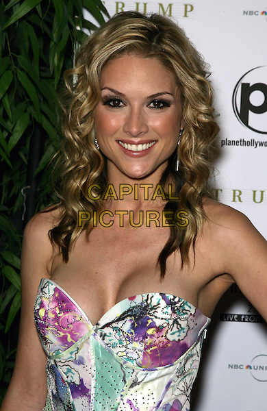 TARA CONNER .2010 Miss USA Pageant at the Planet Hollywood Resort Hotel and Casino, Las Vegas, Nevada, USA..May 16th, 2010.half length white pink purple green strapless cleavage top corset.CAP/ADM/MJT.© MJT/AdMedia/Capital Pictures.