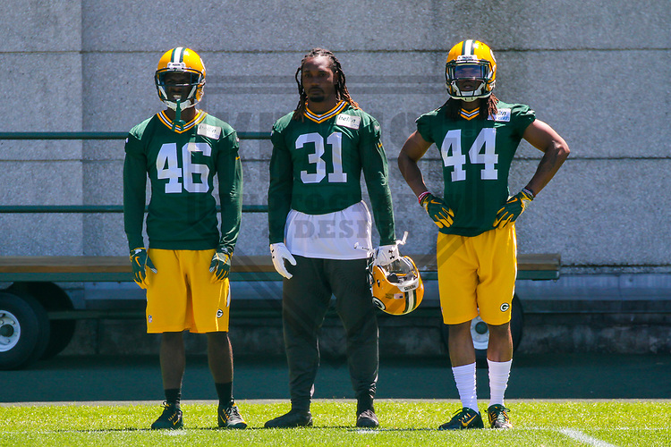 Green Bay Packers cornerback Raysean Pringle (46), cornerback Davon House (31) and cornerback Donatello Brown (44) during an OTA on June 6, 2017 at Clarke Hinkle Field in Green Bay, Wisconsin. (Brad Krause/Krause Sports Photography)