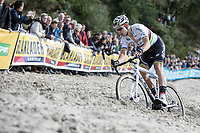 World Champion Wout Van Aert (BEL/Crelan CHarles) plowing through the sand.<br /> <br /> cx Telenet Superprestige Gieten 2017 (NED)