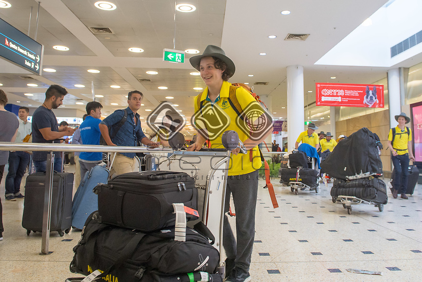 Welcome home - Sydney airport / Ben Tudhope<br /> PyeongChang 2018 Paralympic Games<br /> Australian Paralympic Committee<br /> Sydney International Airport<br /> PyeongChang South Korea<br /> Tuesday March 20th 2018<br /> &copy; Sport the library / Jeff Crow
