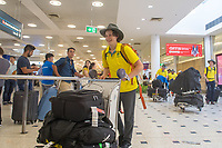 Welcome home - Sydney airport / Ben Tudhope<br /> PyeongChang 2018 Paralympic Games<br /> Australian Paralympic Committee<br /> Sydney International Airport<br /> PyeongChang South Korea<br /> Tuesday March 20th 2018<br /> © Sport the library / Jeff Crow