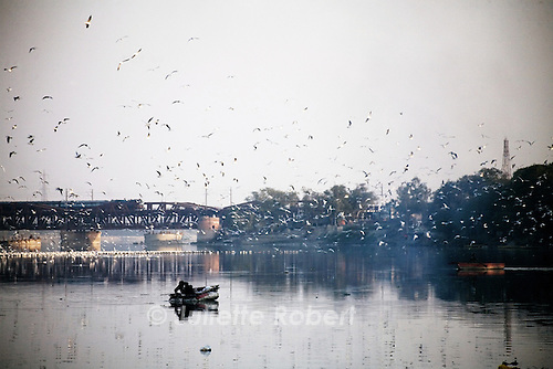 On the banks of Yamuna River, Old Delhi, India