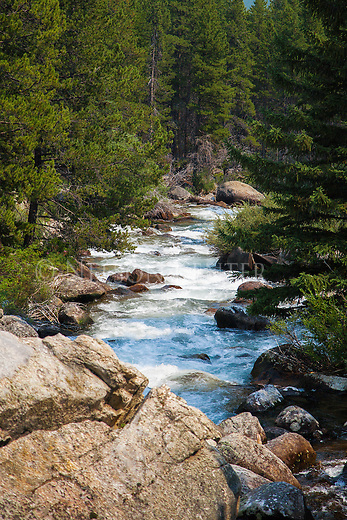 rushing water of the lake fork of rock creek inside the beartooth wilderness area in montana