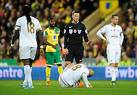 Referee Mark Clattenburg check son Jonjo Shelvey of Swansea City during the Barclays Premier League match between Norwich City and Swansea City played at Carrow Road, Norwich on November 7th 2015