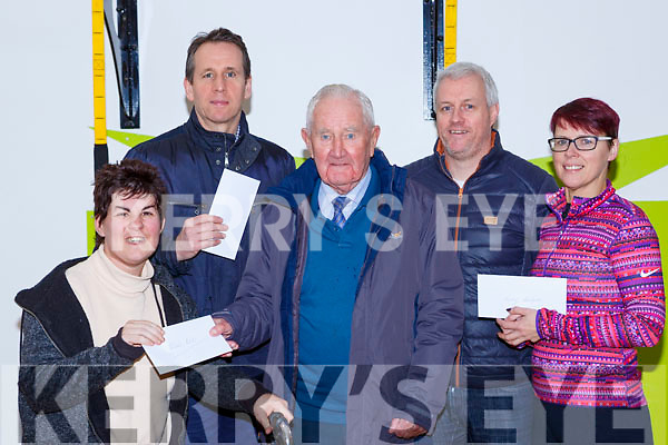 Denis Brosnan presented the proceeds of the An Riocht AC Goal Christmas day walk to the charities in An Riocht on Tuesday cheques to Noreen McGuire St John of Gods, Bill Costello Goal, Sean Haly John of Gods and Tara Walmsley Kerry Hospice