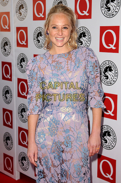 LISSIE.The Q Awards 2010 at The Grosvenor House Hotel, London, England. .October 25th, 2010.half length blue pink purple lace dress see through thru.CAP/CAS.©Bob Cass/Capital Pictures.
