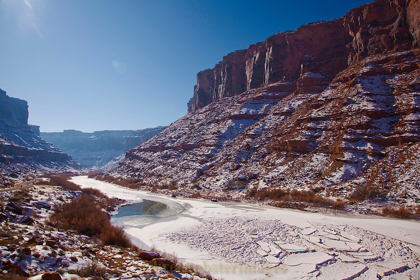 A rare deep deep chill gives an arctic look to the Colorado River near Moab, Utah