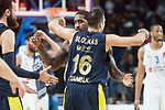 Fenerbahce Dogus Brad Wanamaker and Kostas Sloukas celebrating the victory during Turkish Airlines Euroleague match between Real Madrid and Fenerbahce Dogus at Wizink Center in Madrid , Spain. March 02, 2018. (ALTERPHOTOS/Borja B.Hojas)