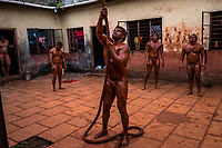 Kushti wrestlers train at Motibag Talim on the 17th of September, 2017 in Kolhapur, India.  <br /> Photo Daniel Berehulak for Lumix