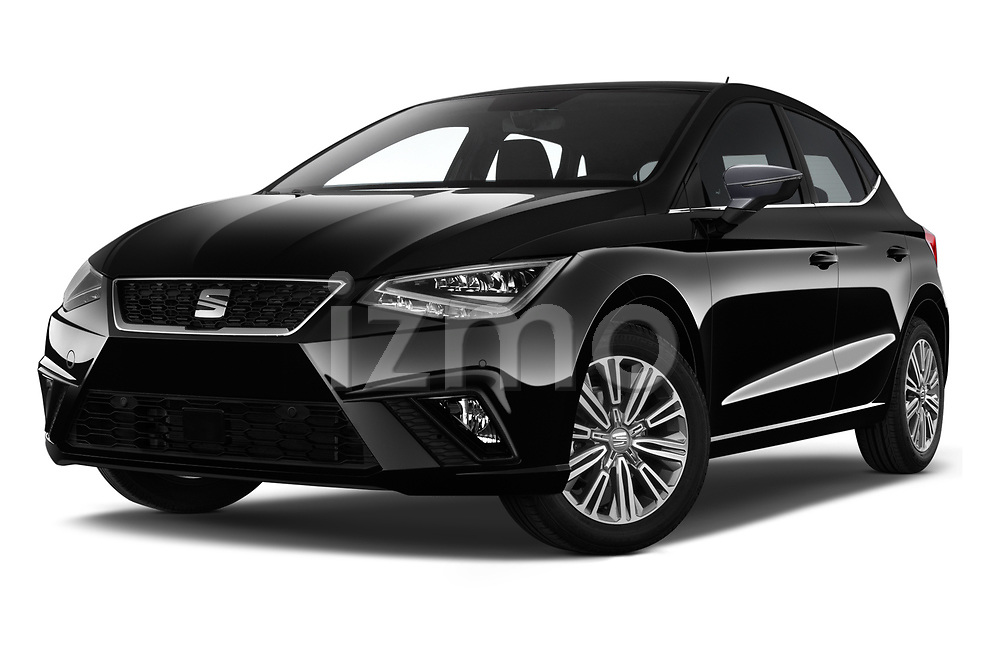 Stock pictures of low aggressive front three quarter view of 2018 Seat Ibiza Xcellence 5 Door Hatchback