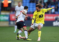 Bolton Wanderers' Erhun Oztumer  competing with Blackburn Rovers' Bradley Dack<br /> <br /> Photographer Andrew Kearns/CameraSport<br /> <br /> The EFL Sky Bet Championship - Bolton Wanderers v Blackburn Rovers - Saturday 6th October 2018 - University of Bolton Stadium - Bolton<br /> <br /> World Copyright &copy; 2018 CameraSport. All rights reserved. 43 Linden Ave. Countesthorpe. Leicester. England. LE8 5PG - Tel: +44 (0) 116 277 4147 - admin@camerasport.com - www.camerasport.com