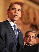 United States President Barack Obama, left, makes remarks at a reception in honor of Foreign Minister S.M. Krishna of India, right, at the State Department  in Washington, D.C. on Thursday, June 3, 2010..Credit: Ron Sachs - Pool via CNP