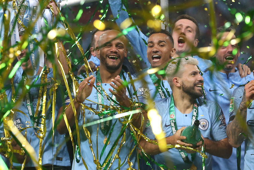 Winners Manchester City celebrate<br /> <br /> Photographer Rob Newell/CameraSport<br /> <br /> The Carabao Cup Final - Chelsea v Manchester City - Sunday 24th February 2019 - Wembley Stadium - London<br />  <br /> World Copyright © 2018 CameraSport. All rights reserved. 43 Linden Ave. Countesthorpe. Leicester. England. LE8 5PG - Tel: +44 (0) 116 277 4147 - admin@camerasport.com - www.camerasport.com