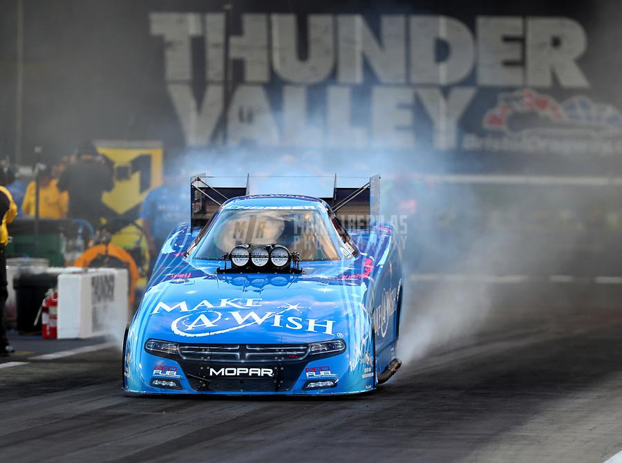 Jun 16, 2017; Bristol, TN, USA; NHRA funny car driver Tommy Johnson Jr during qualifying for the Thunder Valley Nationals at Bristol Dragway. Mandatory Credit: Mark J. Rebilas-USA TODAY Sports