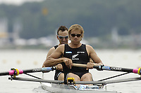 Poznan, POLAND.  2006, FISA, Rowing, World Cup, NZL M2-, bow  Nathan TWADDLE and George BRIDGWATER, moves  away from  the  start, on the Malta  Lake. Regatta Course, Poznan, Thurs. 15.05.2006. © Peter Spurrier   .[Mandatory Credit Peter Spurrier/ Intersport Images] Rowing Course:Malta Rowing Course, Poznan, POLAND
