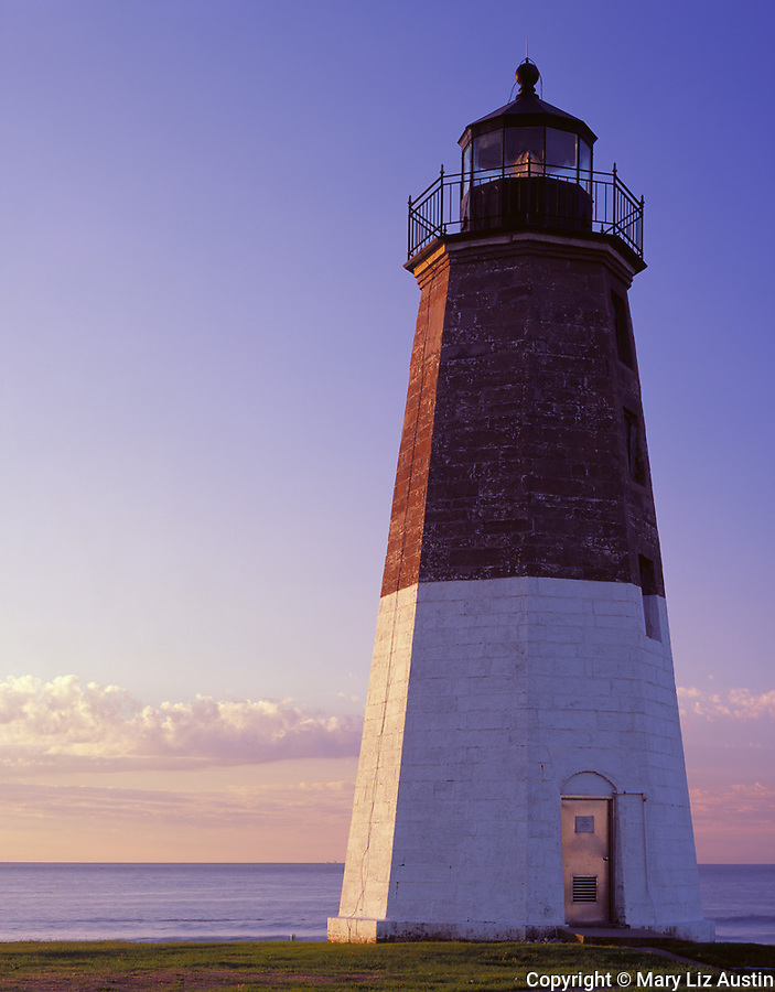 Rhode Island Sound, RI<br /> Point Judith Lighthouse (1857) and surf at dawn, Narraganset