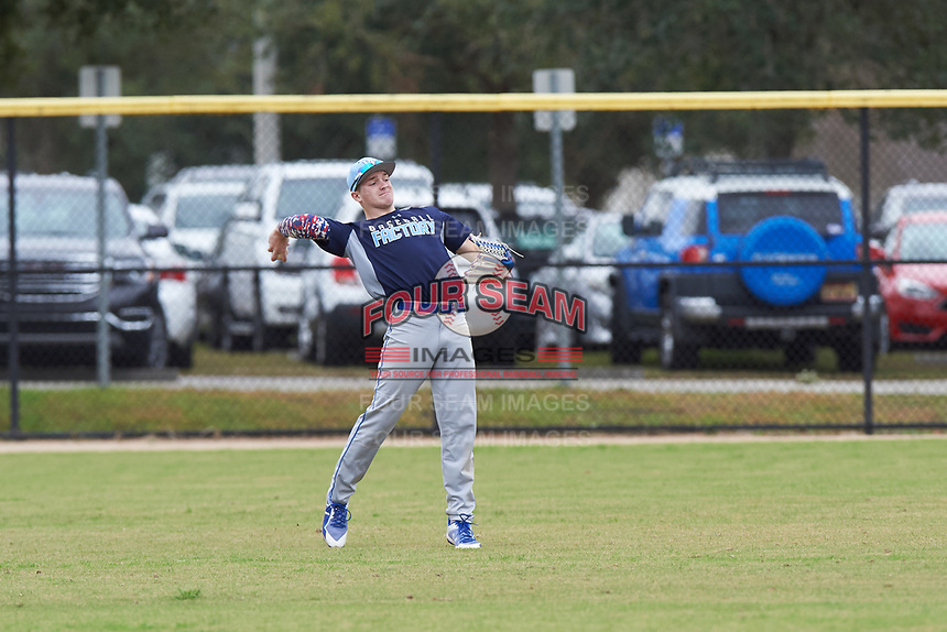 Jaron Ross (13) of Richfield, Utah during the Baseball Factory All-America Pre-Season Rookie Tournament, powered by Under Armour, on January 13, 2018 at Lake Myrtle Sports Complex in Auburndale, Florida.  (Michael Johnson/Four Seam Images)