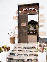 Spain, ESP, Canary Islands, Fuerteventura, Betancuria, 2012Oct14: The door to the restaurant Casa Princess Arminda at Betancuria, Fuerteventura.