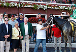 The Caretaker (no. 4) wins Race 8 (The UAlbany Great Dane), Aug. 29, 2018 at the Saratoga Race Course, Saratoga Springs, NY.  Ridden by  Luis Saez, and trained by Todd Pletcher, The Caretaker finished a neck in front of Aveenu Malcainu (No. 9).  (Bruce Dudek/Eclipse Sportswire)