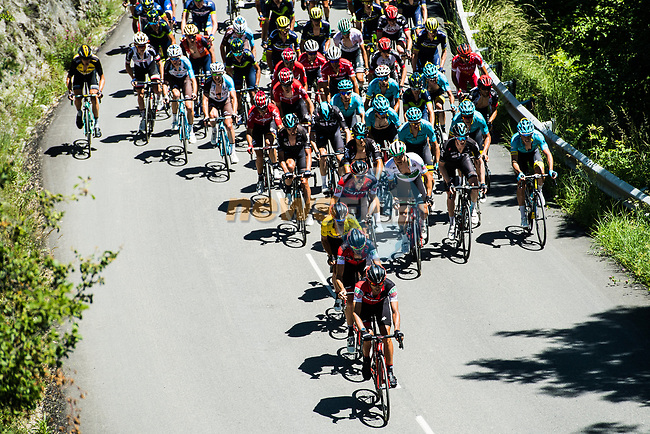 The peloton in action during Stage 7 of the Criterium du Dauphine 2017, running 168km from Aoste to Alpe d'Huez, France. 10th June 2017. <br /> Picture: ASO/A.Broadway | Cyclefile<br /> <br /> <br /> All photos usage must carry mandatory copyright credit (&copy; Cyclefile | ASO/A.Broadway)