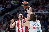 Real Madrid Luka Doncic and Crvena Zvezda Taylor Rochestie during Turkish Airlines Euroleague match between Real Madrid and Crvena Zvezda at Wizink Center in Madrid, Spain. December 01, 2017. (ALTERPHOTOS/Borja B.Hojas)