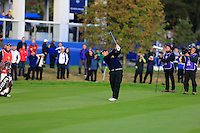 Patrick Reed (USA) on the 1st during the Saturday Fourball Matches of the Ryder Cup at Gleneagles Golf Club on Saturday 27th September 2014.<br /> Picture:  Thos Caffrey / www.golffile.ie