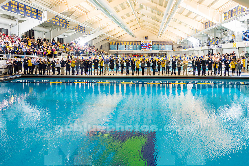The University of Michigan Men's swim and dive team victory over OSU at Canham Natatorium in Ann Arbor, Mich., on January. 25, 2017.