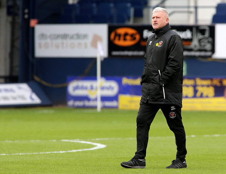 Blackpool's Manager Terry McPhillips surveys the Kenilworth Road surroundings<br /> <br /> Photographer David Shipman/CameraSport<br /> <br /> The EFL Sky Bet League One - Luton Town v Blackpool - Saturday 6th April 2019 - Kenilworth Road - Luton<br /> <br /> World Copyright © 2019 CameraSport. All rights reserved. 43 Linden Ave. Countesthorpe. Leicester. England. LE8 5PG - Tel: +44 (0) 116 277 4147 - admin@camerasport.com - www.camerasport.com