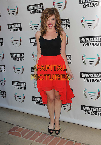 Molly Burnett<br /> 1st Annual Founders Party For The Invisible Children's 4th Estate Leadership Summit Held At Royce Hall, UCLA, Los Angeles, California, USA, 10th August 2013.<br /> full length red skirt black vest top peep toe shoes <br /> CAP/ADM/KB<br /> &copy;Kevan Brooks/AdMedia/Capital Pictures
