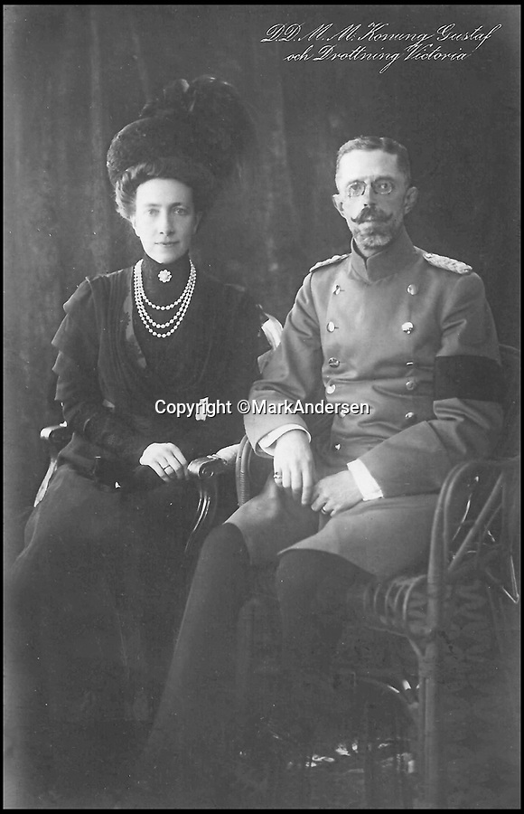 BNPS.co.uk (01202 558833)Pic: MarkAndersen/BNPS<br /> <br /> King Gustav V and Queen Victoria of Sweden.<br /> <br /> A Russian Grand Duke branded King George V a 'scoundrel' who 'did not lift a finger' to save the Romanov family in the revolution there of 1917, explosive diaries have revealed.<br /> <br /> The cousin of the overthrown Russian Royal family blamed the British King for their executions because he failed to grant them refuge.<br />  <br /> Dmitri Pavlovich no-holds-barred diary extracts have been published for the first time in a new book by respected historian Coryne Hall, To Free The Romanovs.