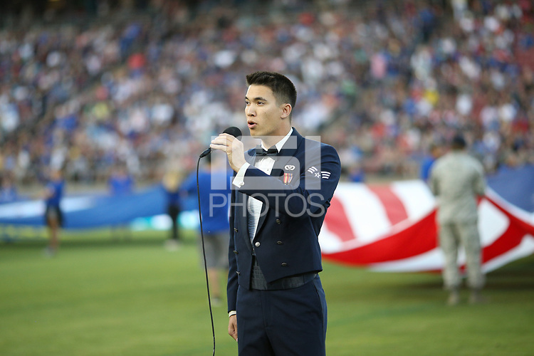 Stanford, CA - Saturday June 30, 2018: National anthem prior to a Major League Soccer (MLS) match between the San Jose Earthquakes and the LA Galaxy at Stanford Stadium.