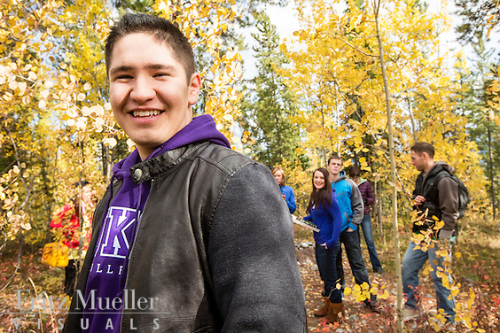 Yukon College students on campus in fall, Whitehorse, Yukon