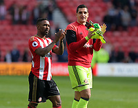SUNDERLAND, ENGLAND - MAY 13: (L-R) Jermain Defoe and Vito Mannone of Sunderland thank supporters after the Premier League match between Sunderland and Swansea City at the Stadium of Light, Sunderland, England, UK. Saturday 13 May 2017