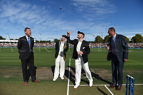 20.02.2016. Christchurch, New Zealand.  NZ Captain Brendon McCullum at the coin toss with Steve Smith and match referee Chris Broad and Simon Doull. New Zealand Black Caps versus Australia. Day 1, 2nd test match, Hagley Oval in Christchurch, New Zealand. Saturday 20 February 2016.