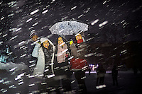 Campus Snow Day - students in the snow - Drill Field - nighttime<br />